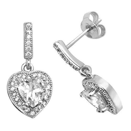 STERLING SILVER 925 HEART  DIAMOND  DROPPER STUD EARRINGS