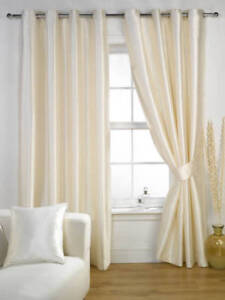 Image Is Loading Luxury Cream Faux Silk Ravello Fully Lined Eyelet