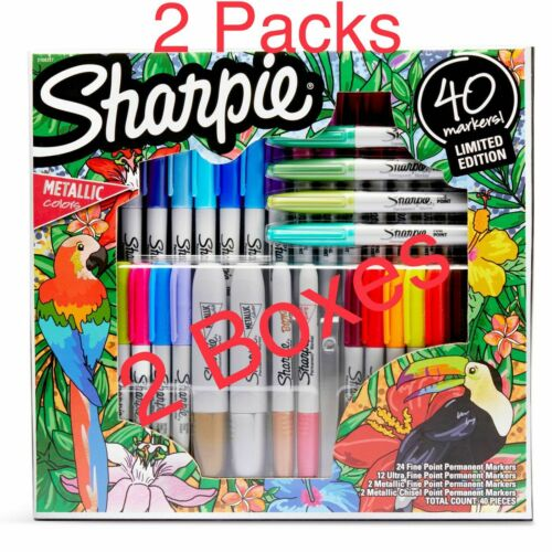 Details about  /Sharpie 40 Permanent Markers Variety Pack Ultra Fine Chisel Metallic 2 Pack