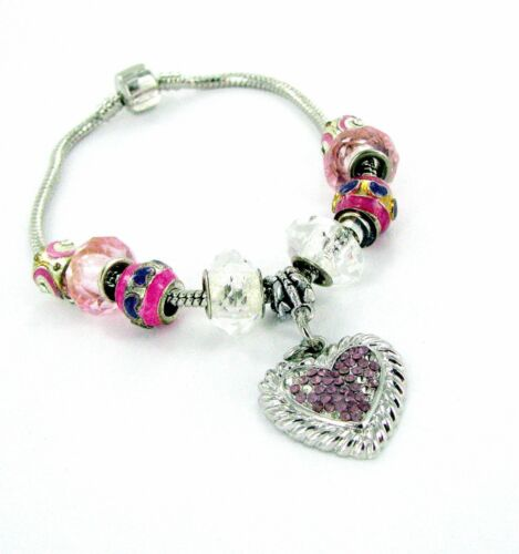 "Pink Heart Bracelet European Bead Charm Bracelet Woman  8.5/"" US Seller"