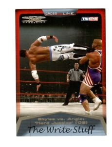 TNA-Kurt-Angle-vs-AJ-Styles-87-2008-Cross-The-Line-Gold-Parallel-Card-SN-15-50