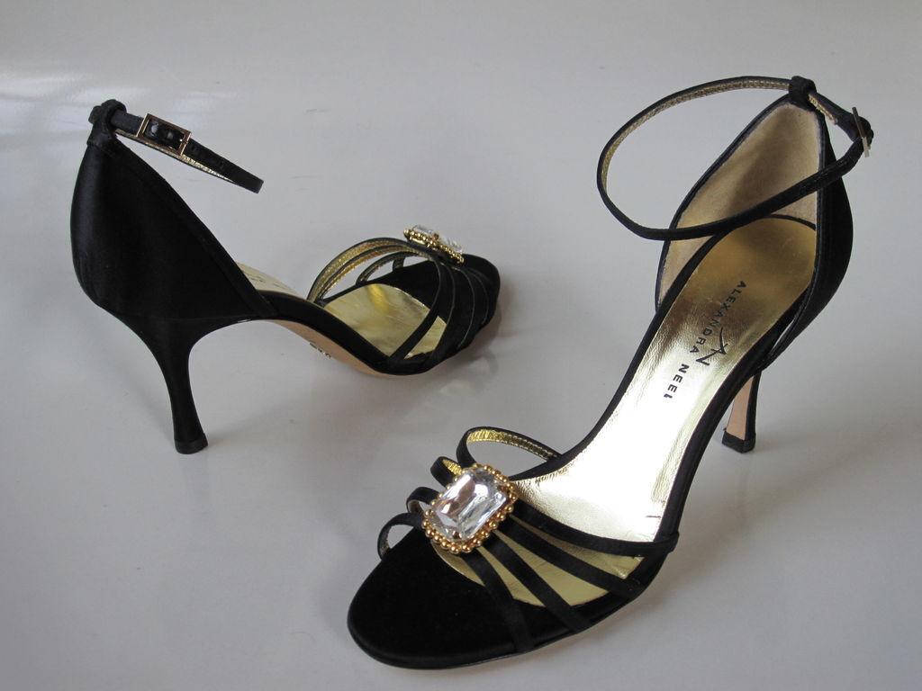 DRESSY Nuevo En Caja Caja Caja  595 Alexandra Neel Negro Satinado Enjoyado Sandalias Tacones Zapatos  mejor servicio