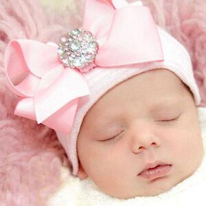 Newborn-Baby-Infant-Girl-Toddler-Bling-Bowknot-Hospital-Cap-Beanie-Hot-Sale-Ever