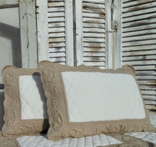 Kissenbezug Dekokissen mit Inlett 60x40 cm gesteppt Landhaus Shabby Vintage Deko