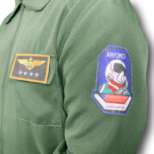 80s Top Flight Aviator Costume Gun Pilot Flying Uniform Mens Fancy Dress 1980s