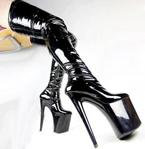 Womens Patent Leather Platform Over Knee Boots High Heel Pole Dance