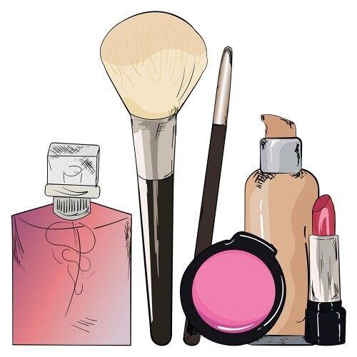 Lippenstift und Parfum Wandsticker Rouge Wandtattoo Beauty Pinsel