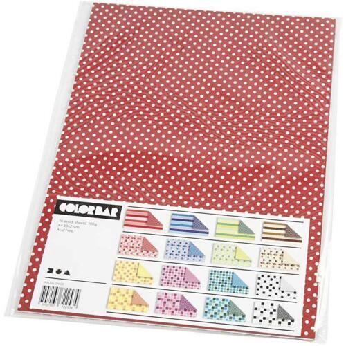 16 hojas colores surtidos Papel Estampado de doble cara 100g A4 Craft 26020