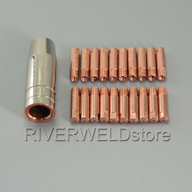 MB 15 AK MIG MAG Welding Torch Contact Tip 140.0059 M6 Gas Nozzle 145.0075 21pcs