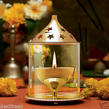 Akhand Diya Deepak In Brass & Glass For Pooja (Large, Brass)