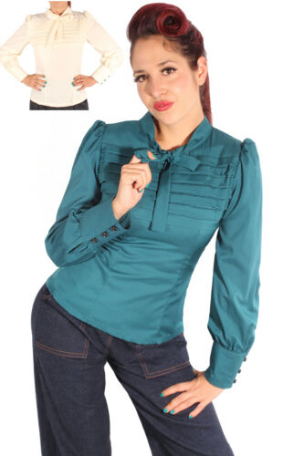 retro Rockabilly Schluppenbluse Biesen Bluse Rücken Knopfleiste
