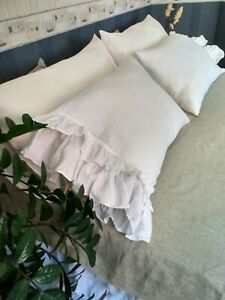 LINEN-PILLOWCASE-with-Double-Ruffles-Envelope-Closure-FLAX-PILLOW-SHAM-cushion