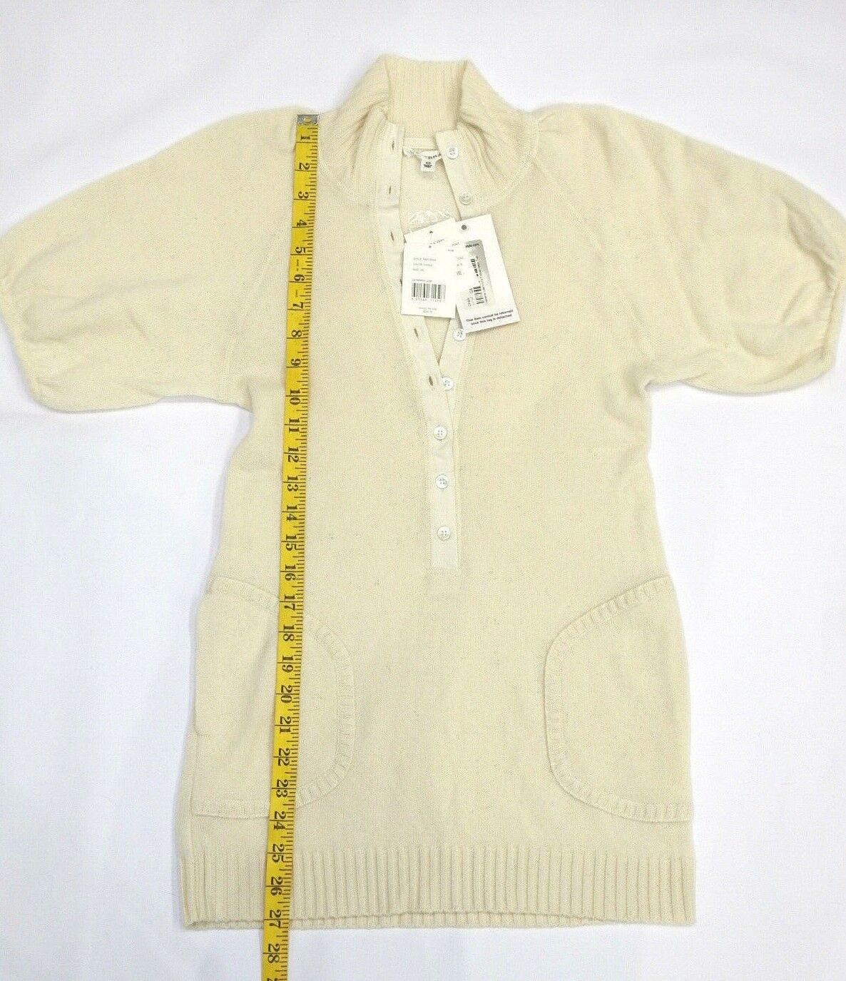 NEW Generra 100% Cashmere Ivory Ivory Ivory Balloon Sleeve Top Tunic Sweater XS NWT  295 cadfb2