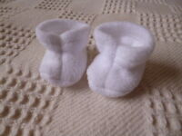 Bjb Dolls Clothes, White Fleece Booties / Boots Fit Baby Born Doll