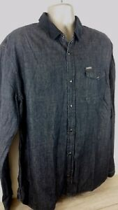 Herren-Denim-Shirt-Firetrap-Kragen-Vintage-Wash-Langarm-100-Baumwolle-XXL-d452-7