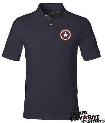 Captain America Custom Embroidery Shield Avengers Marvel Comics Polo T Shirt