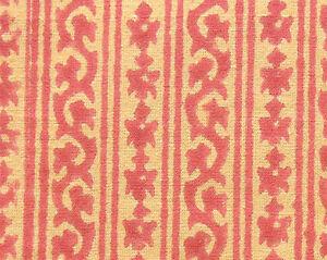 2-Yards-Hand-Printed-Cotton-New-Sheer-Block-Print-Artisan-Fabric-Red-Tan
