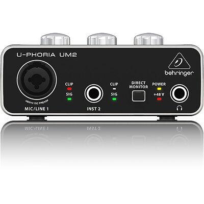 Behringer U-Phoria UM2 2x2 Xenyx Mic Preamp USB Computer Recording Interface