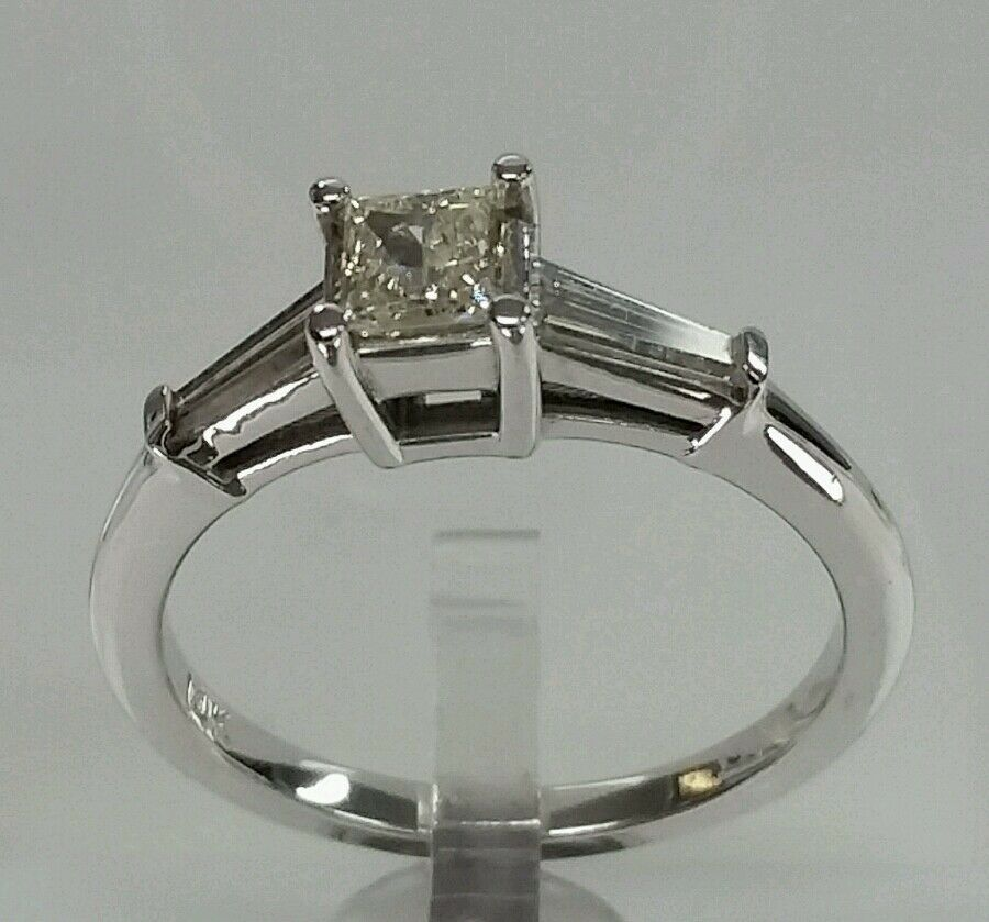 14k white gold engagement wedding solitaire ring 1.00cttw 0.48ct cnt yellow dia.