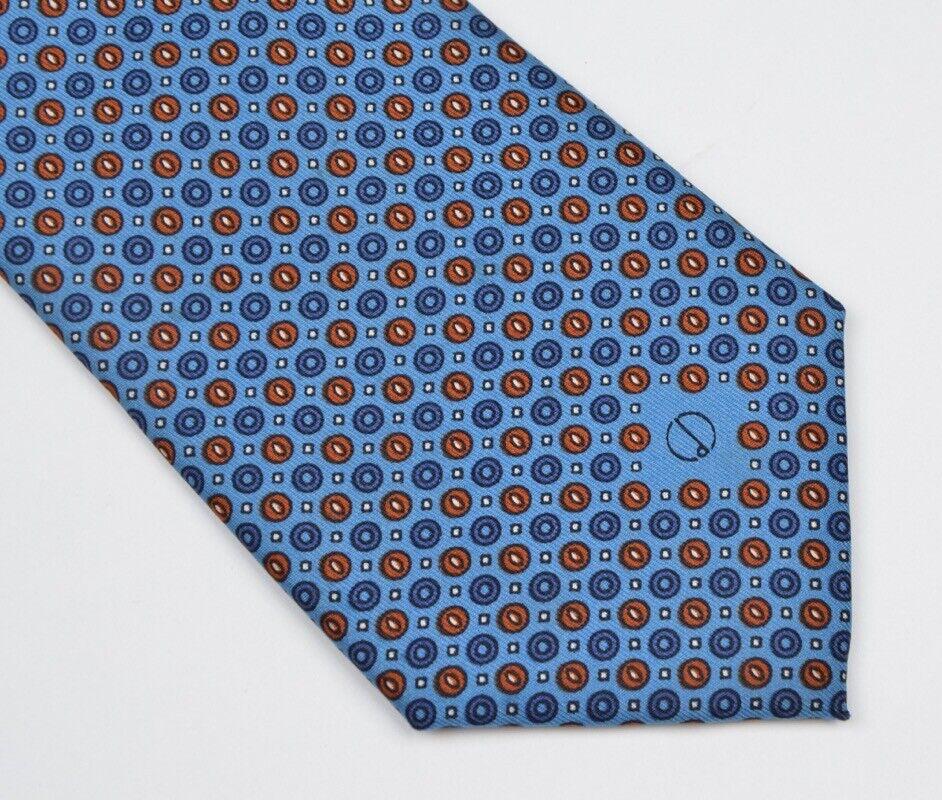 Dunhill CLASSIC Krawatte Tie Blau Blue Made Italy Seide Silk Orange Punktmuster