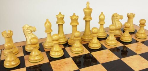 4 QNS Black /& Boxwood 4 5//8 Anderssen Staunton Wood Large Chess Men Set NO Board