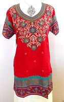 Indian Designer Crepe Bollywood Kurti Ethnic Top Kurtis Tunics In Red For Women