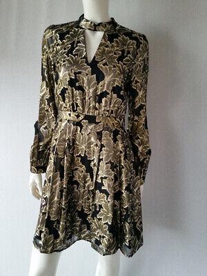 Details zu HALLHUBER Kleid festlich Seidemischung schwarz gold Gr.38 GB10**NEU