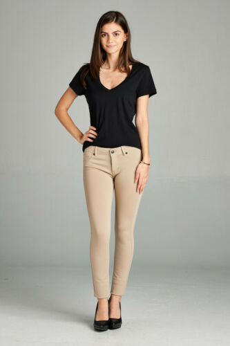 Super Stretchy 5-Pocket Skinny Long Ponte Pants BLACK KHAKI WHITE NAVY RED OLIVE