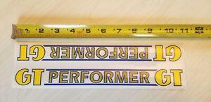 1984 - 1985 Gt Performer Frame Decal Jaune Et Bleu Sur Clair Old School Bmx-afficher Le Titre D'origine
