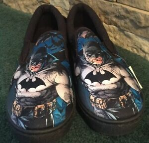 DC-Comics-BATMAN-Slip-On-Mens-Canvas-Shoes-size-10-Super-Hero-NWT