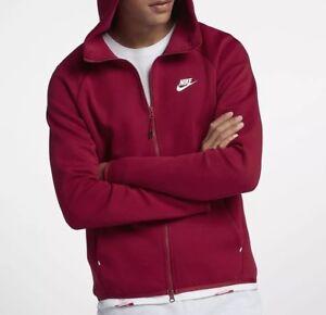 release date available new style Details about Nike Sportswear Tech Fleece Men's Full-Zip Hoodie Jacket  928483-618 Red Size L