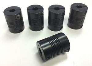 Lot-of-5-Motor-Shaft-Flexible-Beam-Coupler-Coupling-0-25-034-ID-0-74-034-OD-1-0-034-L