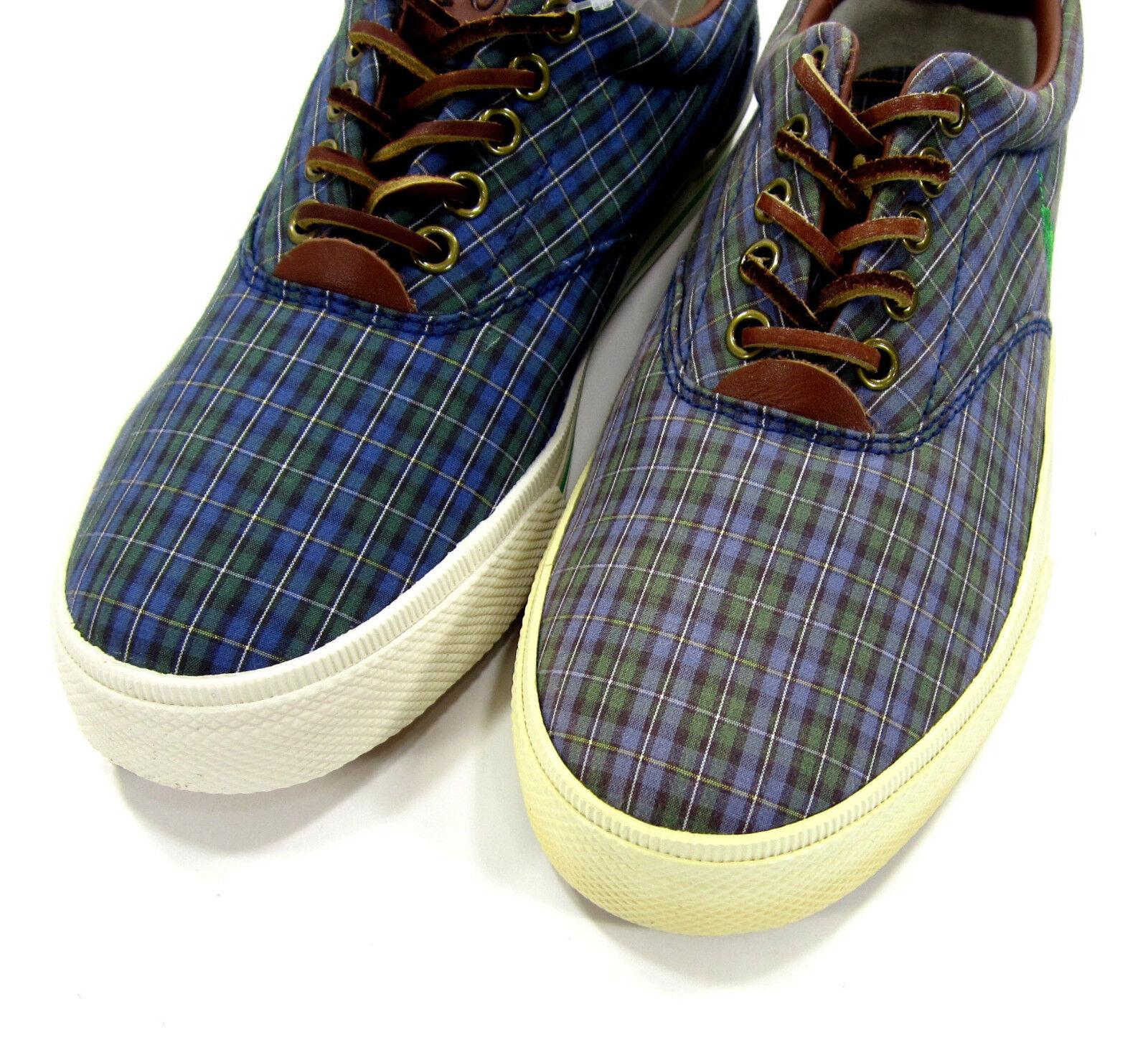 Polo ralph lauren e vaughn atletica tartan scarpe di verde tela / blu / verde di scarpe 8 c0ec7f