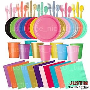 Plain-Disposable-Solid-Colours-Party-TABLEWARE-Events-Catering-Wedding-Birthday