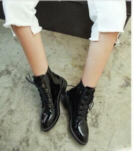 db901e5c627 Women Riding Ankle Boot Lace-up Patent Leather Pointy Toe Low Heel ...
