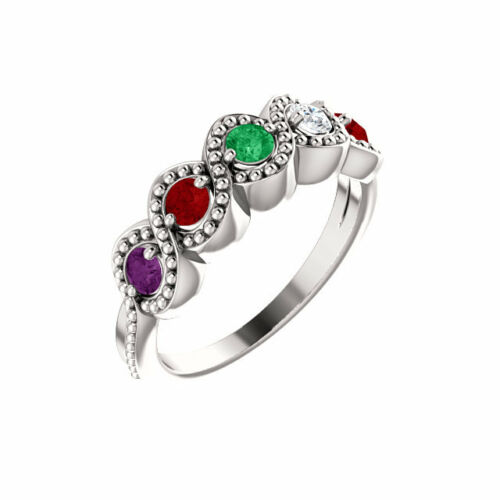 Moms ring Mother/'s Day Ring Jewelry Sterling Silver Birthstone Ring 1-5 Stones