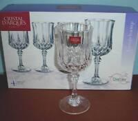 Cristal D'Arques Longchamp Stemmed Wine Glasses SET/4 Diamax Boxed New