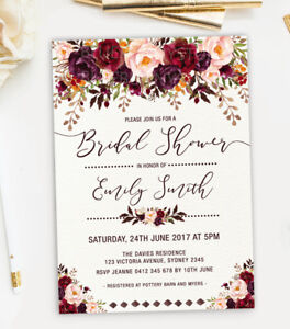 Image Is Loading Rustic Bridal Shower Invitation Floral Garden Wedding  Invite
