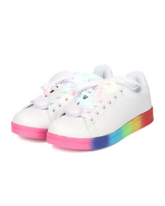 New Women Nolan 01 Leatherette Rainbow Light Up Lace Low Top Sneaker