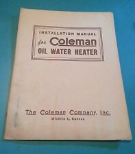 Vintage 1946 Coleman Oil Water Heater Hot Water Tank Installation Manual