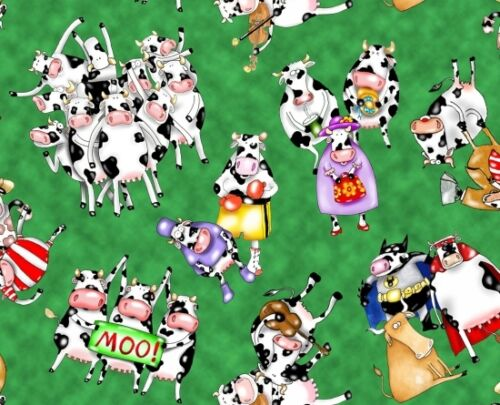 Fat Quarter On A Lark Cotton Quilting Fabric 50 x 55cm Whimsical Cows