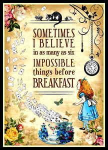 Alice-in-Wonderland-Quote-FRIDGE-MAGNET-6x8-Impossible-Things-Before-Breakfast
