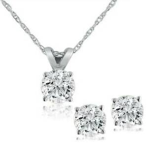 1-2-ctw-Diamond-Solitaire-Necklace-amp-Studs-Earrings-Set-14K-White-Gold