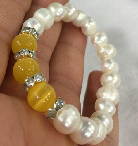 Nouveau 9-10 mm blanc Akoya Culture Pearl /& 10 mm Jaune Opale Élastique Bracelet