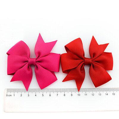 2 Pcs Baby Boutique Big Bow Hair Clips Grosgrain Ribbon Hairpin Headdress