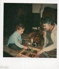 POL601 Polaroid Photo Vintage Original enfant jeux petit chevaux dada chien dog