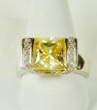 QVC Diamonique SW CZ Epiphany Sterling Silver 2ct CANARY Solitaire RING Size 6