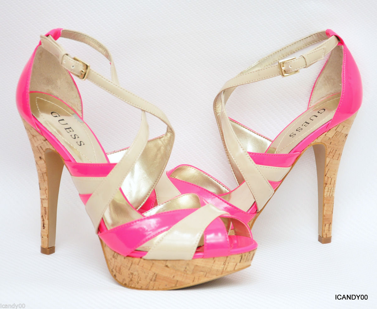 New Guess JACLYN Strappy Platform Pump Sandal Patent Heel Heel Heel  Pink Ivory 9.5 883b8a
