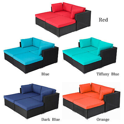 Incredible 4 Pcs Outdoor Patio Furniture Set Wicker Sofa Ottoman Chairs Black Rattan Ebay Uwap Interior Chair Design Uwaporg