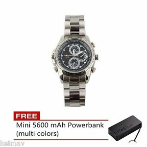 Stainless-DVR-Fashion-Watch-with-Spy-Camera-4GB-Silver-FREE-5600-mAh-Mini-Power